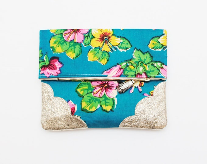 SALE/ BLOOM 51 / Floral fabric bag - gold leather purse- blue leather bag - purse with tassel pull - bright colors-handbag- Ready to Ship