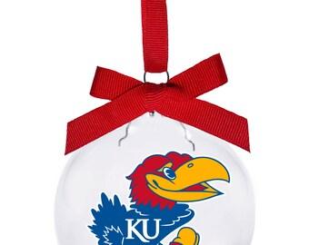 Kansas University KU Jayhawk Christmas Ornament