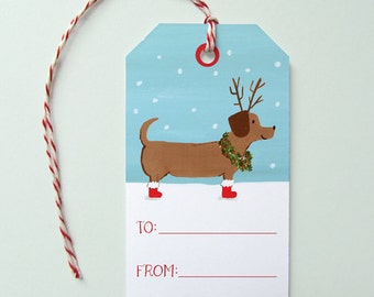Holiday Gift Tags, Set of 10 Gift Tags, Dachshund Gift Tags, Cute Holiday Wrapping, Christmas Tags, Xmas Gift Tags, Holiday Dachshund