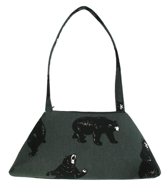 Bears, Japanese fabric, silkscreen, vintage inspired, retro style, tote