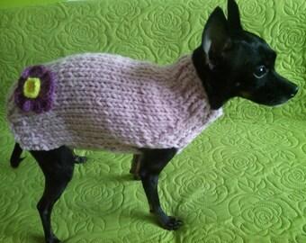 Small Dog Sweater-Chihuahua sweater-Pet Sweater-Dog Costume-Pink Pet Sweater