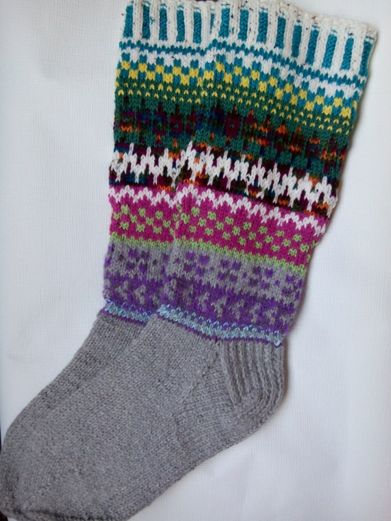 Hand Knitting Patterns For Women : Hand knitted pattern socks womens wool long size