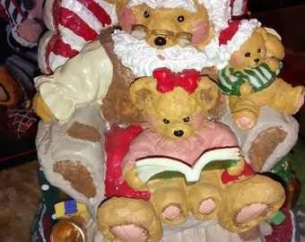 Centerpiece Santa Bear Resin Table....Christmas Treasury