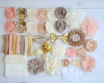 Shabby Chic DIY headband kit #6, Vintage baby shower headband kit, DIY baby headbands, headband station, makes 20+ headbands!!