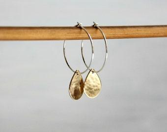 Sterling Silver Small Hoops Bohemian Minimalist Mixed Metal Jewelry Brass Gold Drop Earrings
