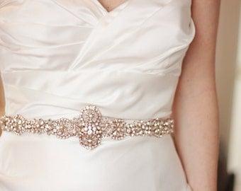 Rose Gold crystal bridal sash, rose gold belt, abigailgracebridal, rose gold belt, rose gold sash, rose gold wedding sash