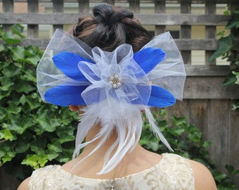 Tulle and Royal Blue feather Pearled Hair Clip
