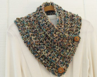 Crochet Button Scarf Cowl Olive Turquoise Ivory Tan Two Wood Buttons Neckwarmer Scarflette