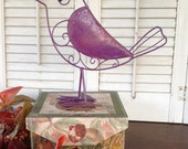 Whimsy Standing Metal Bird - Aubergine Country French Metal Decor