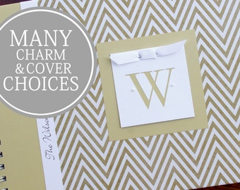 1st Anniversary Gift | Personalized Wedding Anniversary Journal | Anniversary Memory Book | Gold Chevron with Initial Charm