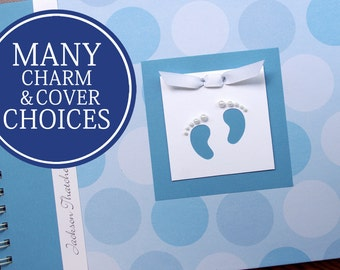 Baby Journal   Baby Book Boy   Baby Album   Baby Memory Book   Personalized Baby's First Year Book   Boy   Large Blue Polka Dots