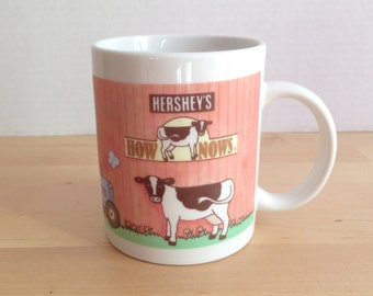 Vintage Hershey's Chocolate How Nows (R) Cow Coffee Cup
