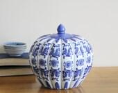 SALE - Vintage Ginger Jar - Vintage Blue and White Ceramic Pumpkin Shaped Ginger Jar, Spice Jar, Lidded Jar