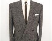 1980s Double Breasted Tweed Sport Coat / vintage 4x1 gray grey wool suit jacket / men's 42 medium