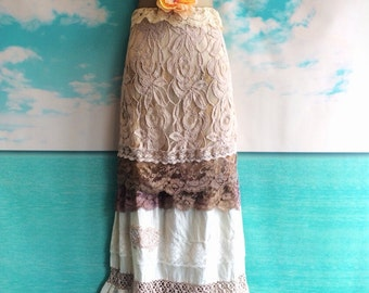 ecru cream tan & Cocoa tiered cotton boho lace dress by mermaid miss k