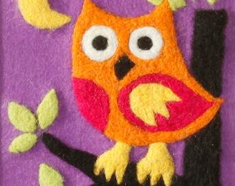 Needle Felting kit. Owl picture. Needle Felting Picture. Learn a craft. Needle felting kit. DIY needle felting. Christmas gift.