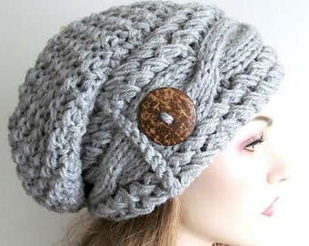 Slouchy Beanie Slouch Cable Hats Oversized Baggy Beret Button womens fall winter accessory Heather Grey Super Chunky Hand Made Knit