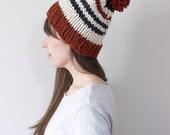 Striped Knit Hat, Chunky Slouchy Hat, Knit Beanie, Knit Pom Pom Hat | The November Hat