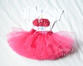 HOT PINK OWL Birthday Girl Set - 3d Cupcake Onesie and Tutu Skirt - 1st 2nd 3rd 4th 5th Birthday