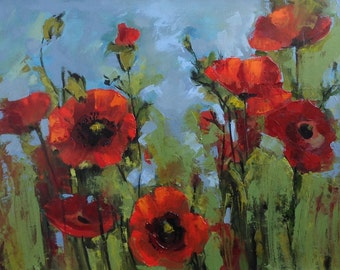 Poppy painting. Original oil painting with red poppy flowers .Ready to ship.