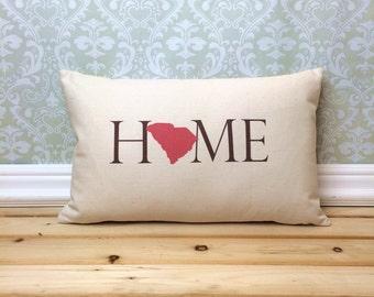 South Carolina Pillow, Long Pillow, Home Pillow, State Pillow, Home Decor, House Warming Gift, House Warming Pillow, Custom Pillow, Lumbar
