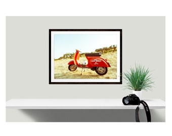 Vintage Moped, All You Need is Love Poster, Vintage Scooter, Italian Scooter, Red Scooter, Beach House Decor, Beach Photography, Beach Theme