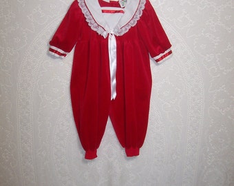 Size 3T~- Vintage Toddler Romper~- from Fancy Pants  ~ Christmas ~ Holiday ~ Red ~ Velvet ~ Made in USA
