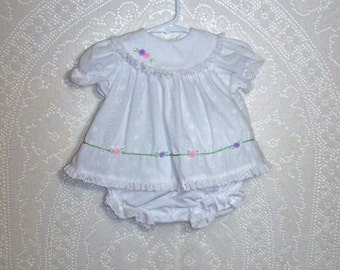 6-9 month - 2 Pc Baby Dress with panties - from Little Bitty - White - Eyelet - Easter