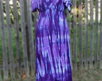 Short-Sleeved Tie-dye Rayon Dress in Purples or Blues