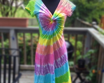 Tie-Dye Pastel Rainbow Twist Front Dress with Short Sleeves