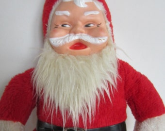 Vintage Stuffed Santa Claus Doll with  Rubber Painted Face