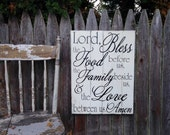 Lord Bless the Food before us, the Family beside us, & the Love between us Amen Large Pallet Style Sign 18x24