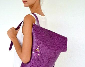 Purple leather backpack / Purple leather bag / Italian cow, purple crocko leather / Leather casual bag
