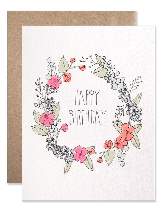 floral wreath birthday card. Black Bedroom Furniture Sets. Home Design Ideas
