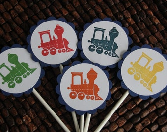 Train Birthday Party Cupcake Toppers - Choo Choo cupcake toppers - set of 10 - handmade
