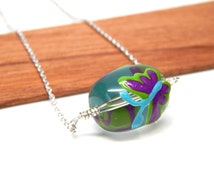 Spring necklace - simple wire wrapped glass bead sterling silver jewelry