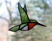 Ruby-throated Hummingbird Stained Glass Suncatcher, Bird Sun Catcher, Glass Art