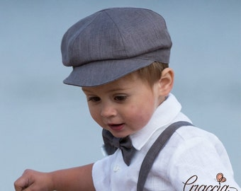 Baby boy gray newsboy hat Ring bearer baby newsboy hat Baby boy photo prop hat Gray linen baby newsboy hat Ready to ship size 6 - 9 month
