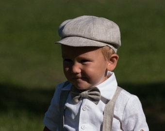 Baby boy linen newsboy hat Boy baptism light newsboy hat Ring bearer newsboy hat light melange boy summer hat Ready to ship size 6 - 9 month