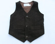 Boys Chocolate Brown Herringbone Vest, Toddler to Youth Boys Vest, Wedding Ring Bearer, Vintage Style Boys Vest, Page Boy Outfit