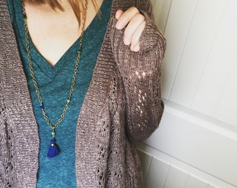 boho tassel necklace // copper and brass beaded jewelry // choose your color
