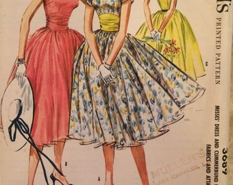 UNCUT Vintage 1950's Dress Sewing Pattern McCalls 3689 -Rockabilly Dress- Mademoiselle Editors' Choice