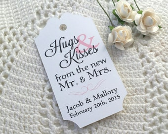 Hugs & Kisses - Wedding Favor Thank You Tags - Personalized - Bridal Shower - Baby Shower - Custom Quantities are Available WT046