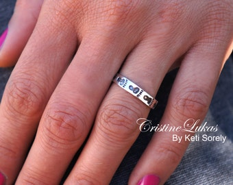 Birth or The Baby! Baby Foot Print Ring with Engrqaved Name or Date (Engraved Any Name) - Available in Sterling Silver