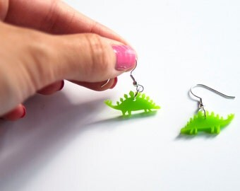Stegosaurus Drop Earrings. Dinosaur  Dangle Earrings. Jurassic World. Plastic Earrings. Animal Earrings. For her. Bridal Earrings.