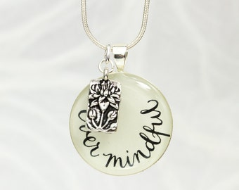Ever Mindful - Inspirational Necklace with Lotus Charm, Meditation Jewelry, Yoga Jewelry, Zen Inspired, Yoga Lover Gift, Handmade