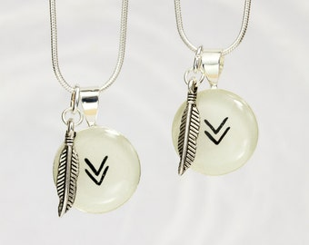 Chevron Necklace Set, Best Friends Necklace Set, Teen Jewelry, Boho, Trendy, Gift for Best Friend, Chevron and Feather, Handmade Unique