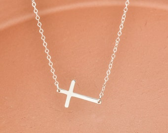 Skinny Sideways Cross Necklace, Sterling Silver Cross Necklace, Faith Necklace, Celebrity Necklace, Large Cross Necklace, Cross Jewelry