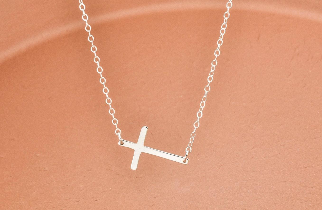 sideways cross necklace sterling silver by