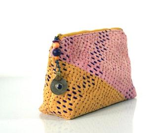 kantha makeup bag, kantha pouch, kantha jewellery purse, ethnic purse, indian purse
